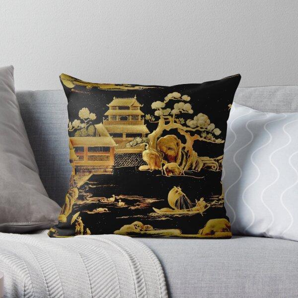 BLACK GOLD PAGODA GARDENS House of Harlequin Throw Pillow