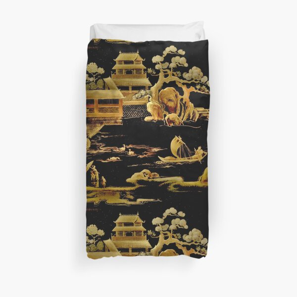 BLACK GOLD PAGODA GARDENS House of Harlequin Duvet Cover