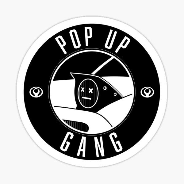 Pop Up Gang Miata White Text + Design Sticker
