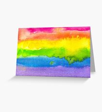 Watercolor Gay Pride Flag Greeting Card