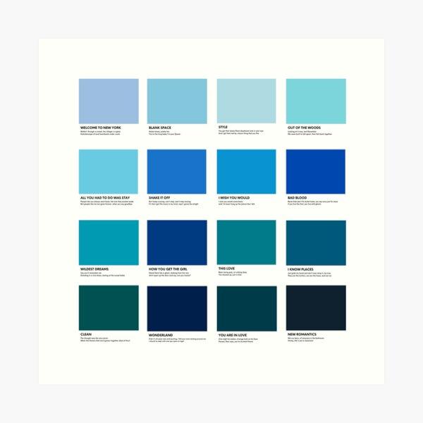 Taylor Swift 1989 Album Pantone Colour Swatch Track list Compilation Art Print