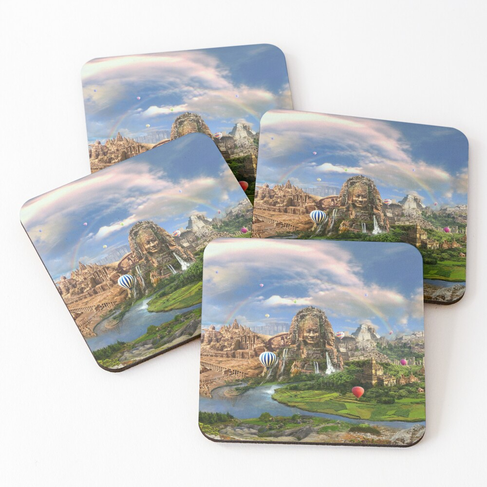 Valley Of The Temples - spiritual, peaceful temple art coexist Coasters (Set of 4)
