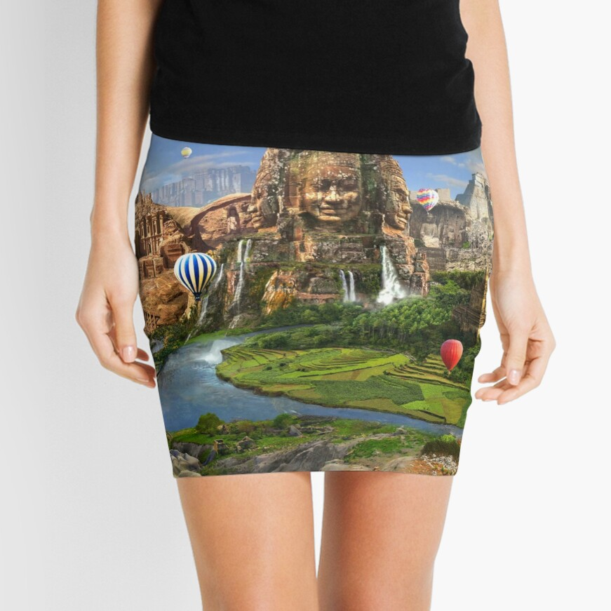Valley Of The Temples - spiritual, peaceful temple art coexist Mini Skirt