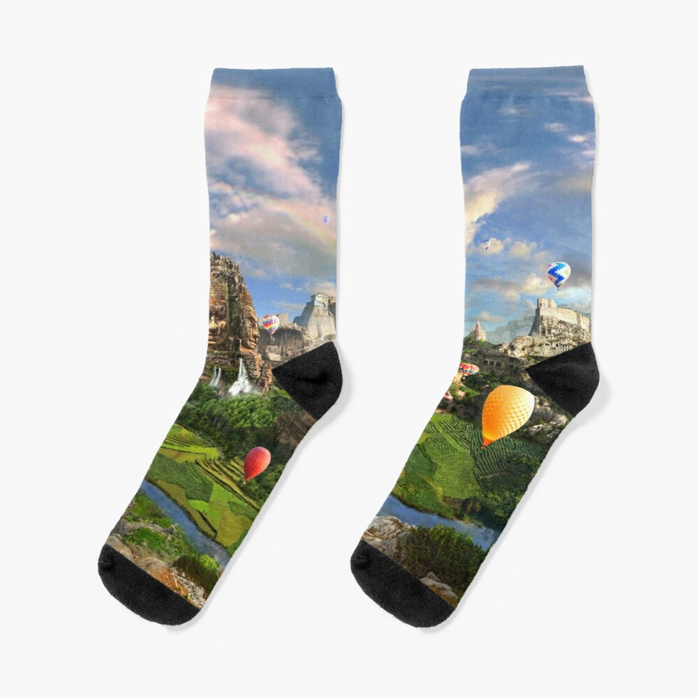 Valley Of The Temples - spiritual, peaceful temple art coexist Socks