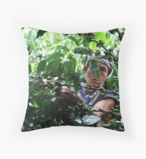 Coffee picker, Colombia Throw Pillow