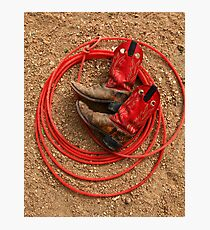 Red Boots and Red Lariat Photographic Print