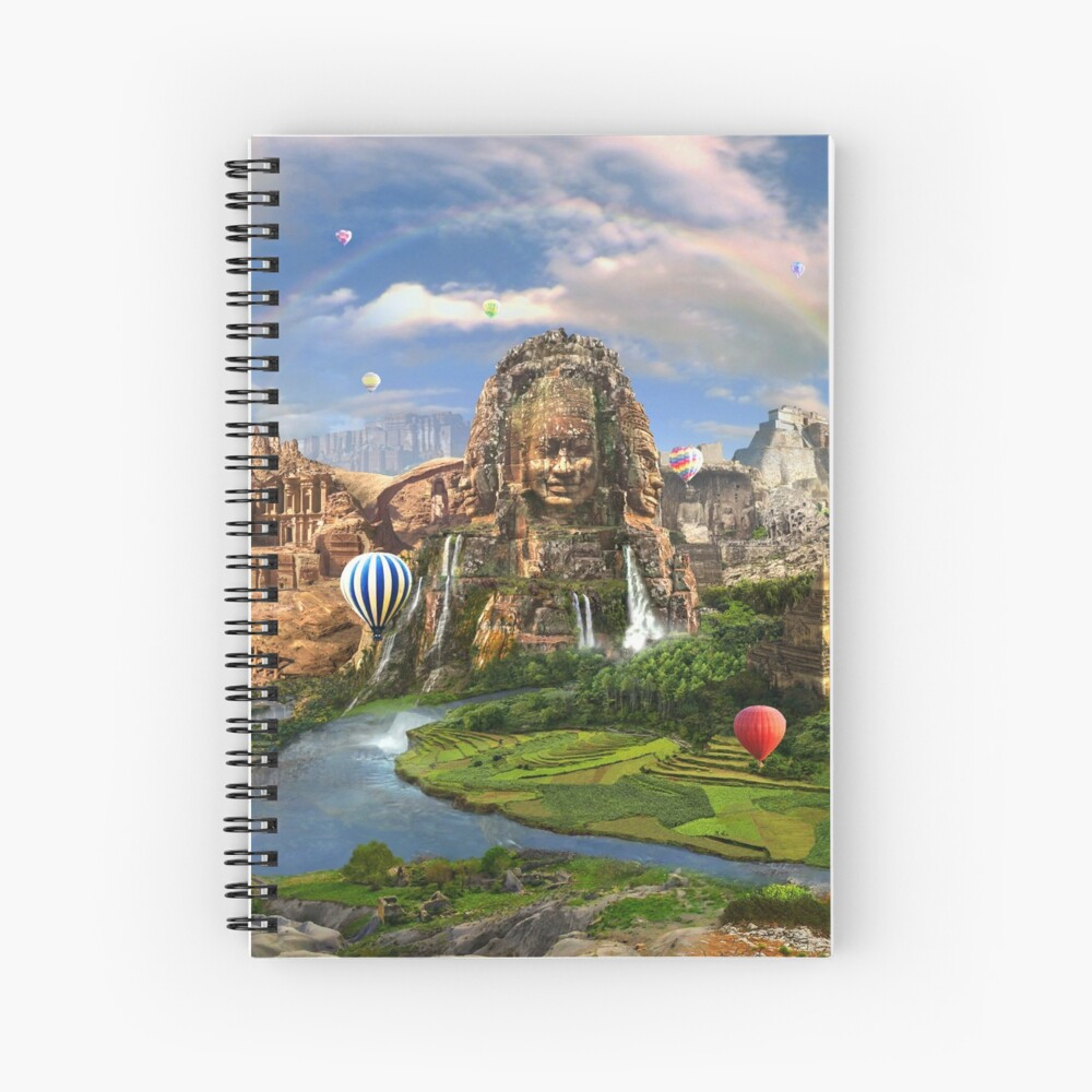 Valley Of The Temples - spiritual, peaceful temple art coexist Spiral Notebook