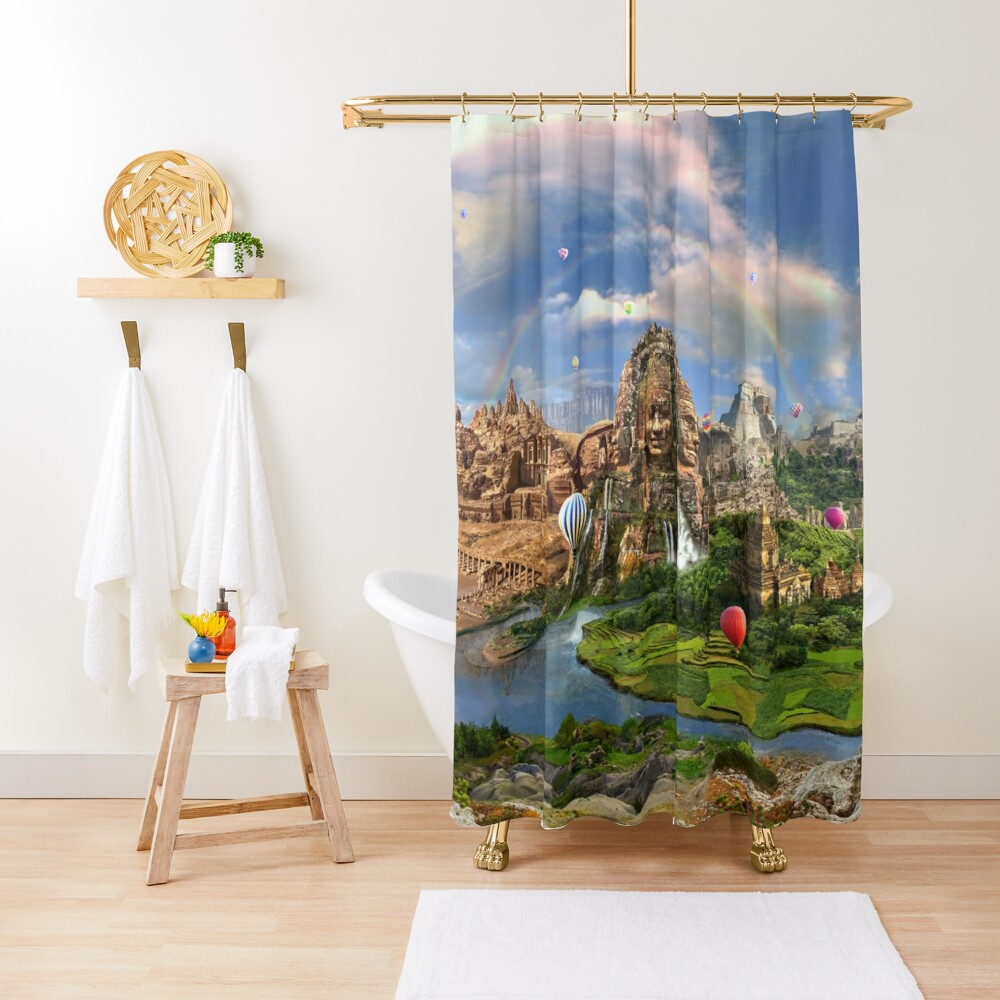 Valley Of The Temples - spiritual, peaceful temple art coexist Shower Curtain