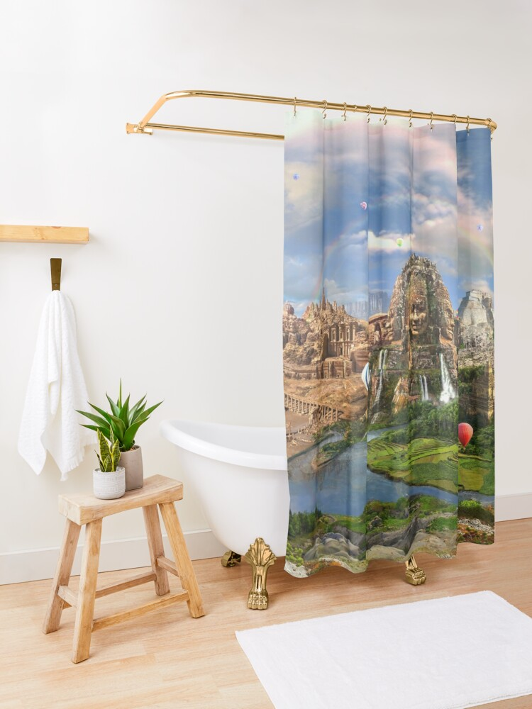 Alternate view of Valley Of The Temples - spiritual, peaceful temple art coexist Shower Curtain