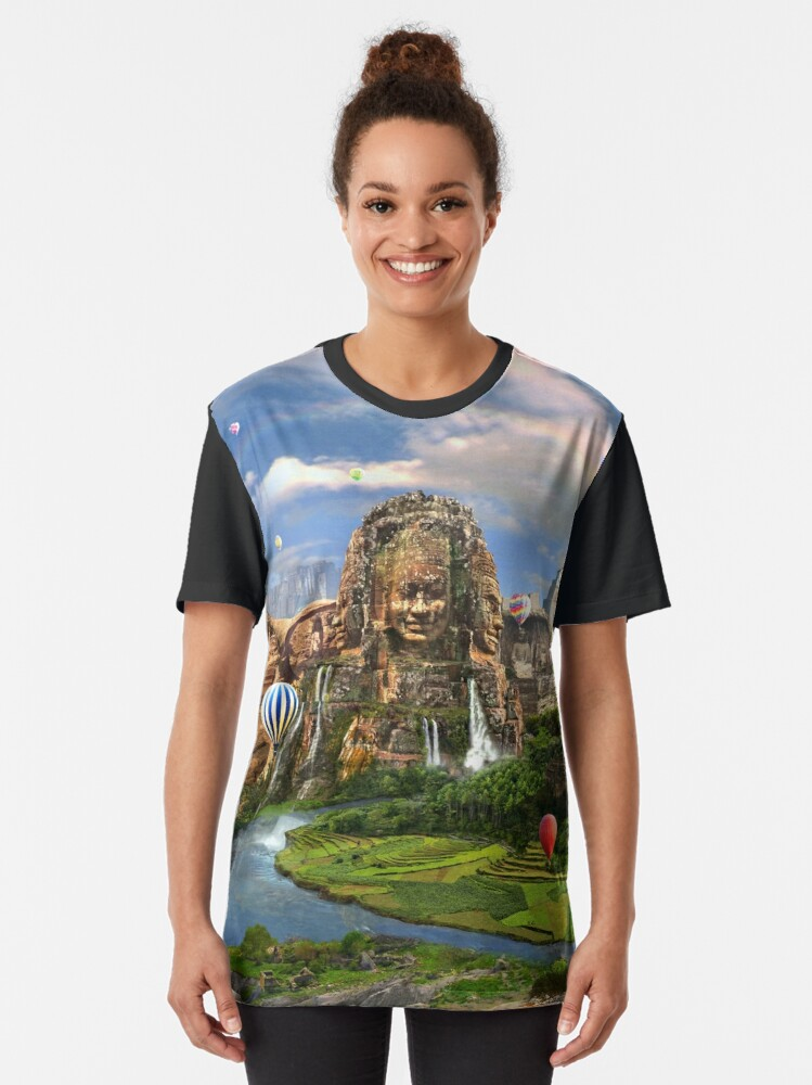 Alternate view of Valley Of The Temples - spiritual, peaceful temple art coexist Graphic T-Shirt