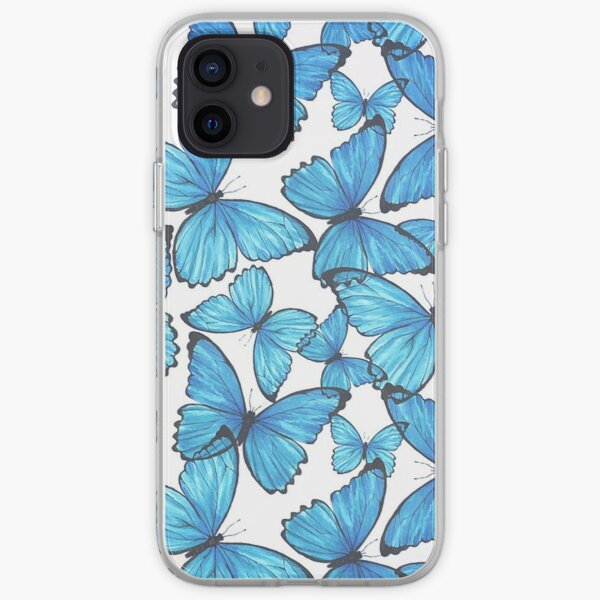 blue butterfly pattern iPhone Soft Case