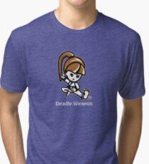 Martial Arts/Karate Girl - Deadly Weapon (gray font) Tri-blend T-Shirt
