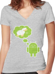 DROID Dreaming of an Electric Sheep (iron-on look) Women's Fitted V-Neck T-Shirt