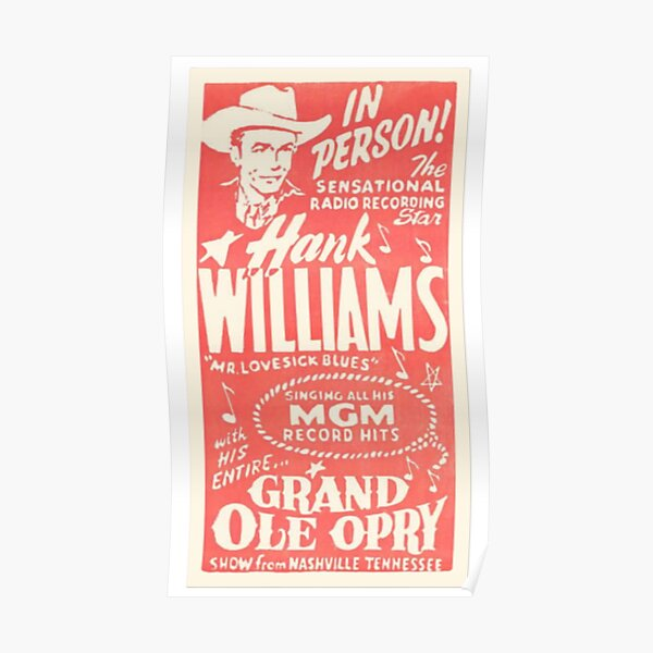 Hank Williams Vintage Grand Ole Opry Poster (#2) Poster