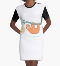 Hanging In There With Sloth Hugs Graphic T-Shirt Dress