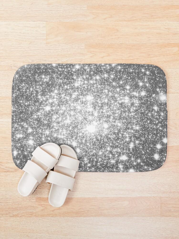 Alternate view of Galaxy Sparkle Stars Silver Gray Bath Mat