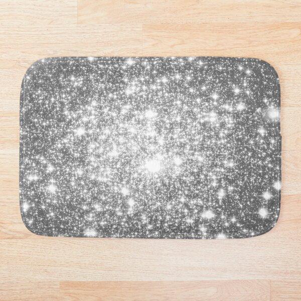 Galaxy Sparkle Stars Silver Gray Bath Mat