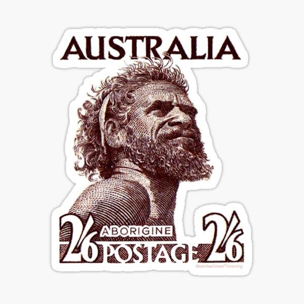 Antique Australian postage stamp, 2s6d, brown, aborigine Sticker