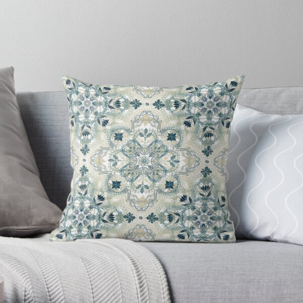 Navy Blue Green Cream Detailed Lace Doodle Pattern Throw Pillow By Micklyn Redbubble