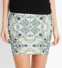 Forest Green & Neutral Taupe Detailed Lace Doodle Pattern Mini Skirt