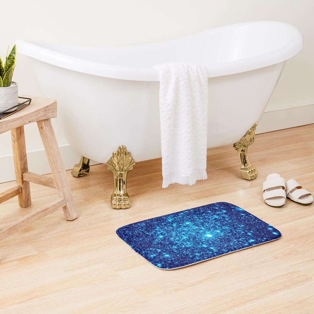 Vivid Blue Galaxy Sparkle Stars Bath Mat