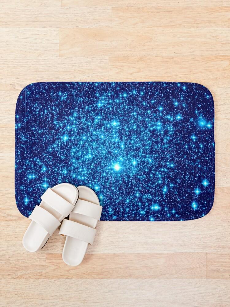 Alternate view of Vivid Blue Galaxy Sparkle Stars Bath Mat