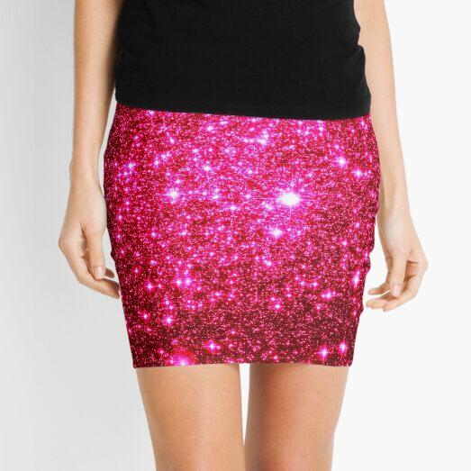 Galaxy Sparkle Stars Hot Pink Mini Skirt