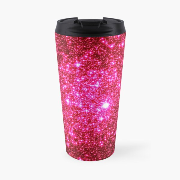 Galaxy Sparkle Stars Hot Pink Travel Mug