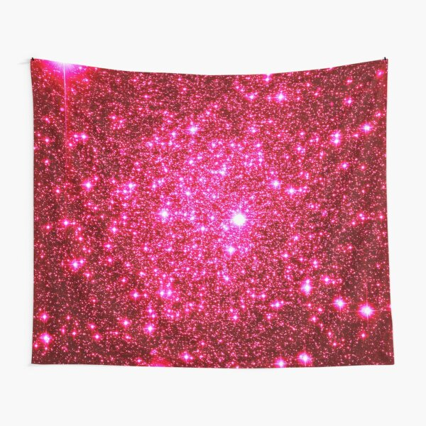 Galaxy Sparkle Stars Hot Pink Tapestry