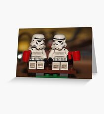 Stormtrooper cuppa park bench Greeting Card