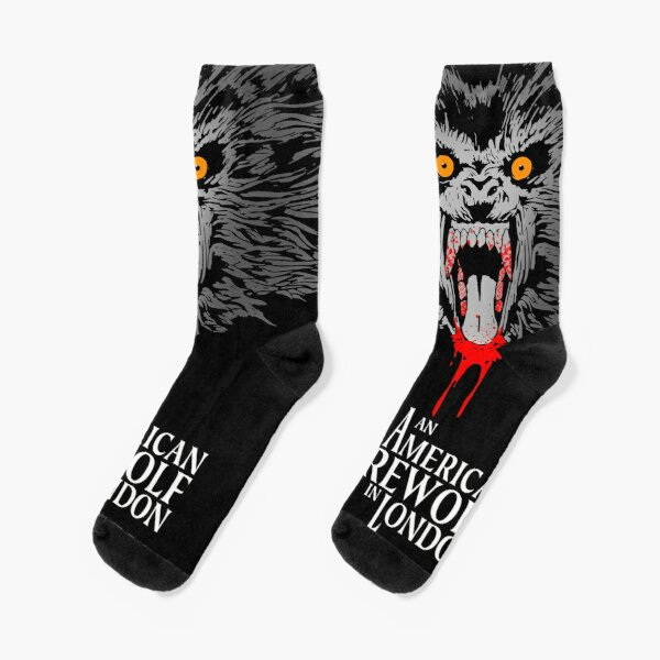An American Werewolf in London (Gray on black) Socks