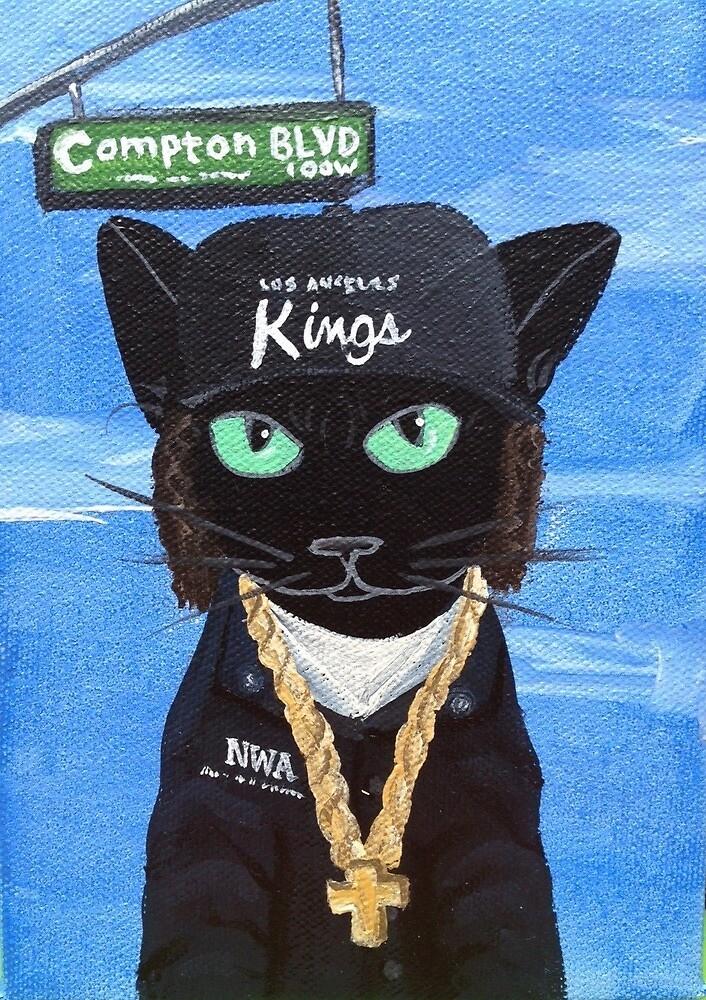 Black Cat Painting Los Angeles Hip Hop Urban California By