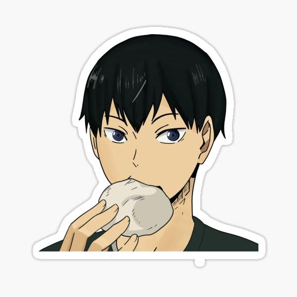 Kageyama eating pork buns Sticker