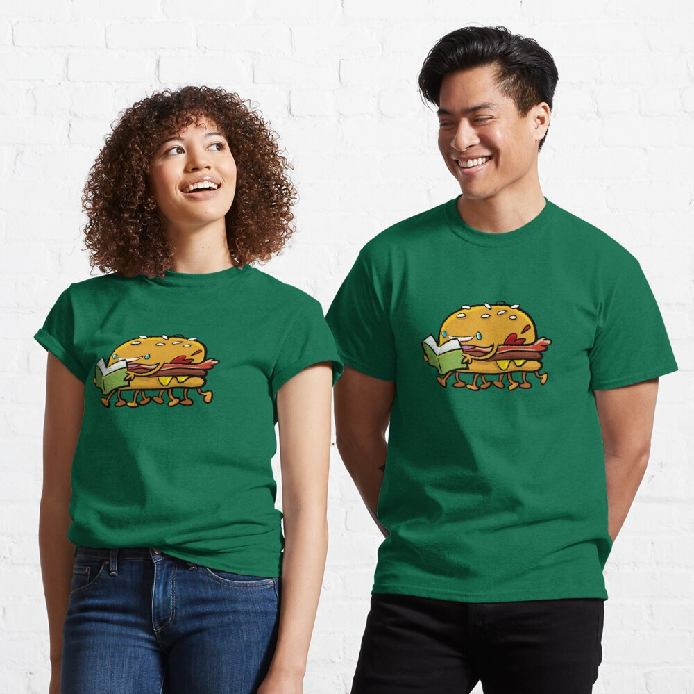 burger with legs reading a book Classic T-Shirt