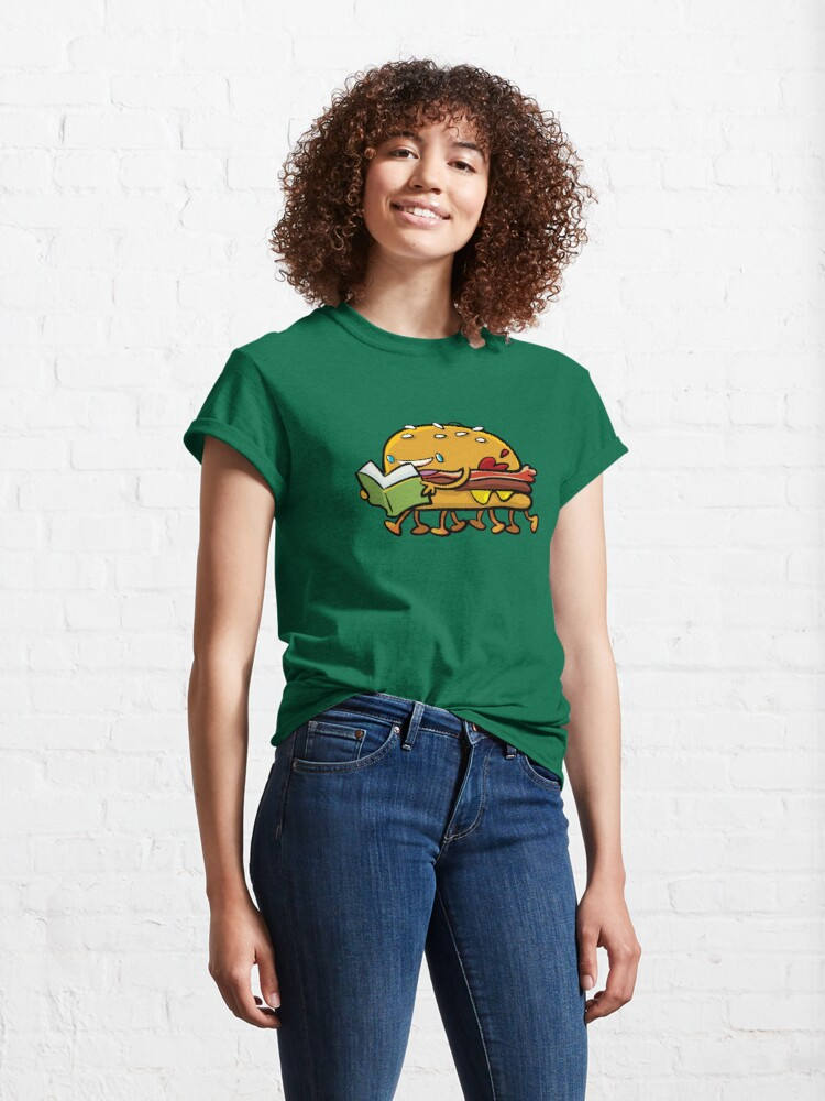 Alternate view of burger with legs reading a book Classic T-Shirt
