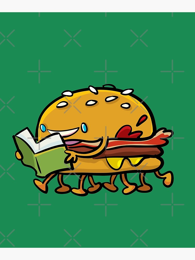 burger with legs reading a book by duxpavlic