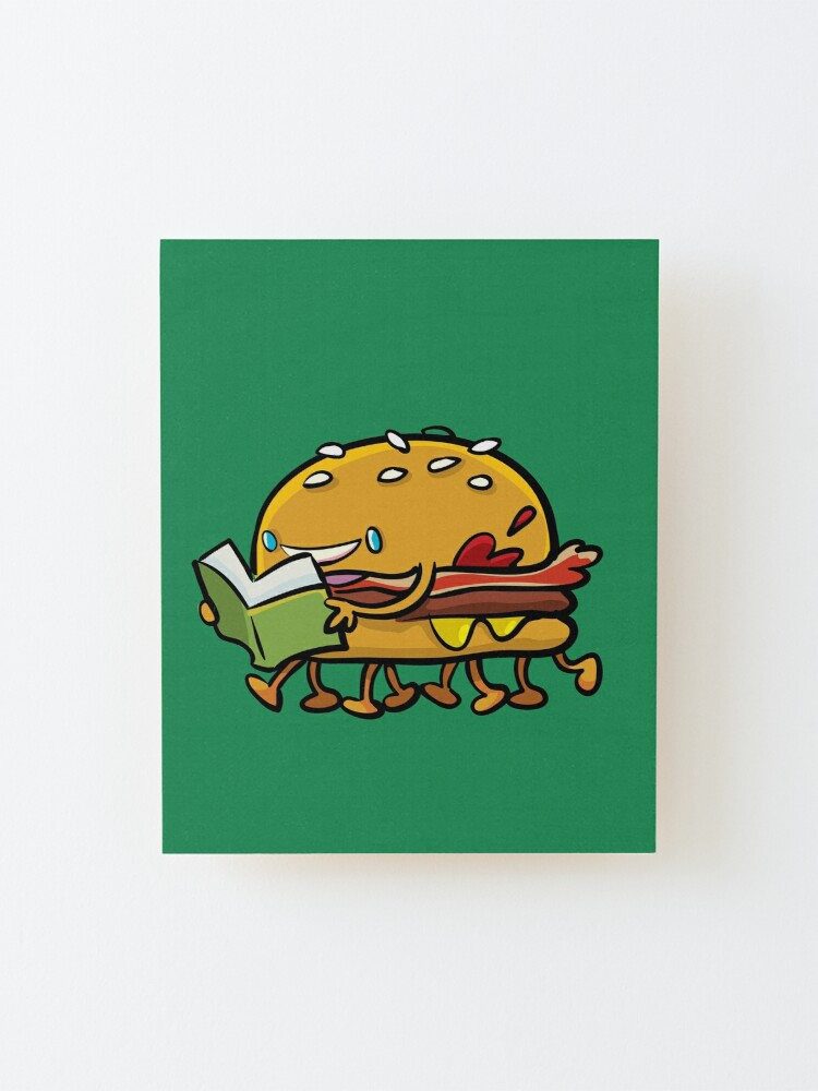 Alternate view of burger with legs reading a book Mounted Print
