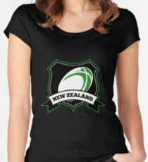 Rugby Ball New Zealand shield Women's Fitted Scoop T-Shirt