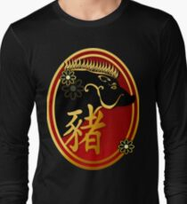 Year Of The Pig-Black Boar Oval T-Shirt
