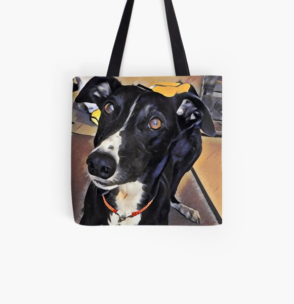 Georgie Grey - Black and White Greyhound All Over Print Tote Bag