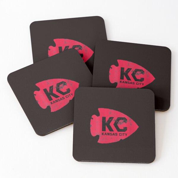 Womens Kansas City Arrowhead Kc Distressed Vintage V neck T shirt Coasters (Set of 4)