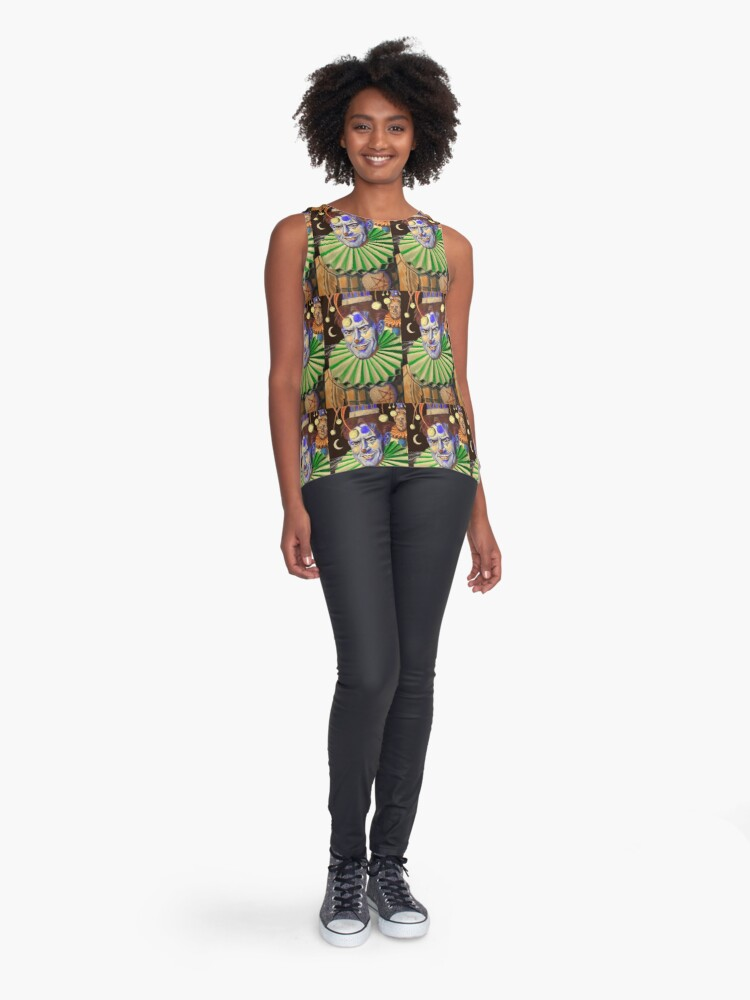 Alternate view of Clowns by the night shore Sleeveless Top