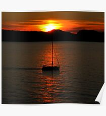 Croatian Sunset and Boat Sillhouette Poster