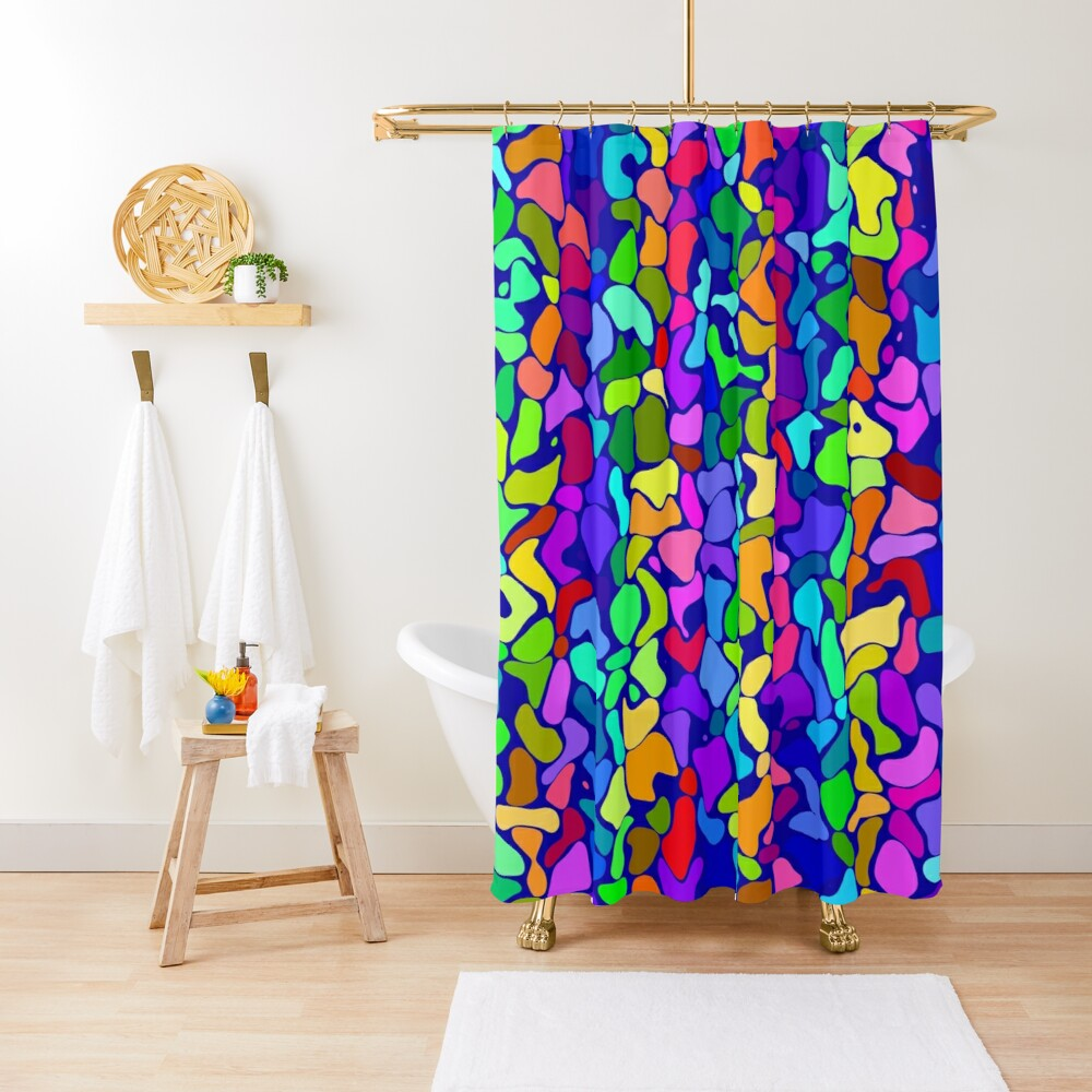 Random colored shapes Shower Curtain