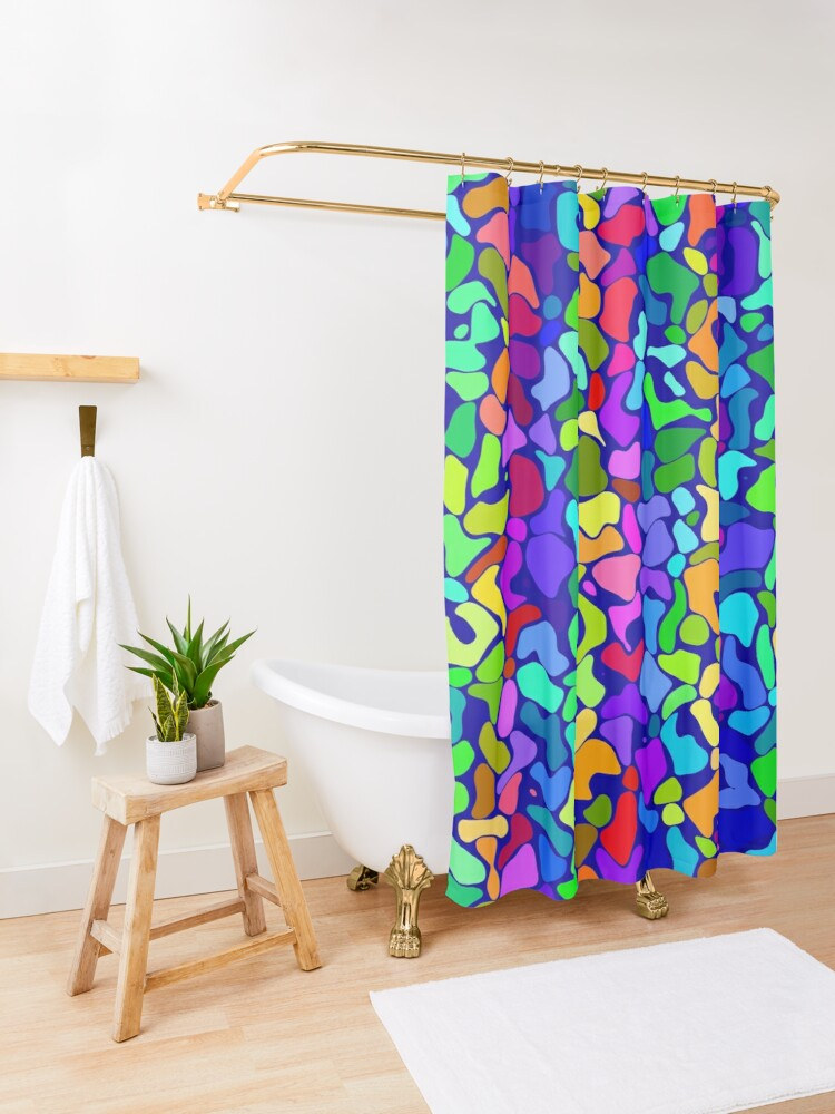 Alternate view of Random colored shapes Shower Curtain