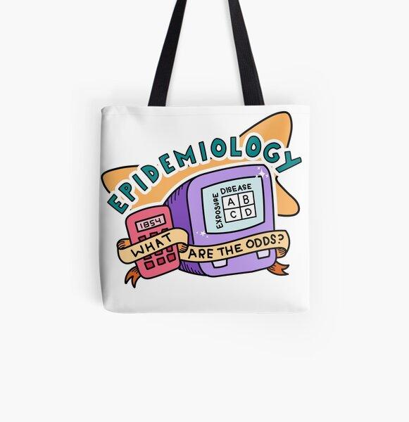 Retro epidemiology public health sticker All Over Print Tote Bag