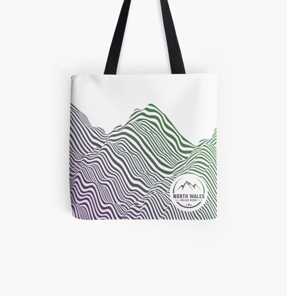 mountain contours - coloured All Over Print Tote Bag