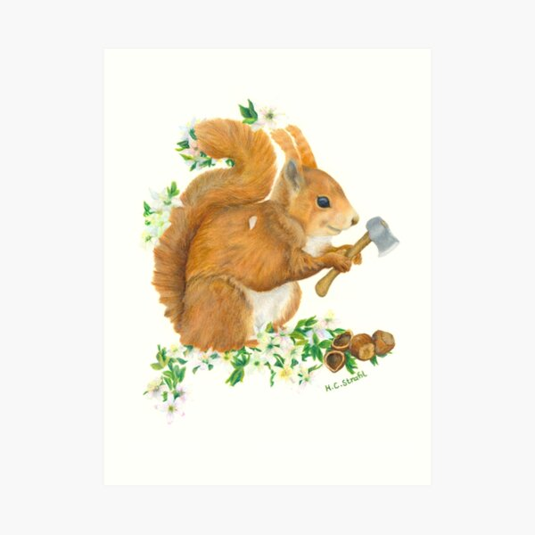 Squirrel goes nuts Art Print