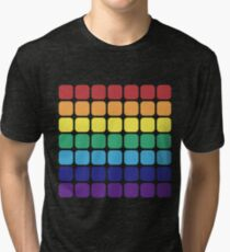 Rainbow Square - Dark Background Tri-blend T-Shirt