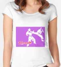 Karate Jumping Back Kick Purple  Women's Fitted Scoop T-Shirt